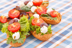 Sandwiches with rusks and vegetables Stock Image