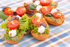 Sandwiches with rusks and vegetables Royalty Free Stock Photography