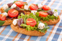 Sandwiches with rusks and vegetables Stock Photo