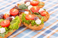 Sandwiches with rusks and vegetables Royalty Free Stock Photos