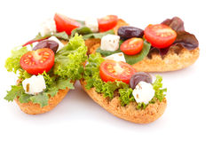 Sandwiches with rusks and vegetables Stock Photos