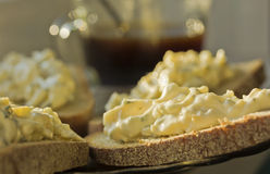 Sandwiches on rye bread with cheese and garlic appetizer Royalty Free Stock Image