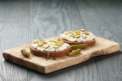 Sandwiches with rye bread, cream cheese and Stock Photography