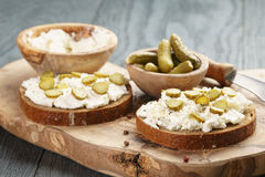 Sandwiches with rye bread, cream cheese and Royalty Free Stock Photography