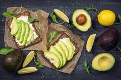 Sandwiches with rye bread and fresh sliced avocado Royalty Free Stock Image