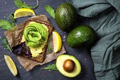 Sandwiches with rye bread and fresh sliced avocado. Sandwiches with rye bread, guacamole and fresh avocados stock photos