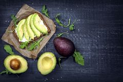 Sandwiches with rye bread and fresh sliced avocado. Sandwiches with rye bread, guacamole and fresh avocados royalty free stock image