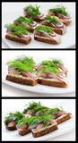 Sandwiches of rye bread with herring,. Onions and herbs Royalty Free Stock Photos