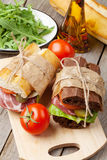 Sandwiches and salad Royalty Free Stock Image