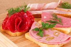 Sandwiches with salami, bacon and mortadella Stock Image