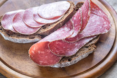 Sandwiches with salami. Sandwiches with dark-rye bread and different kinds of salami Stock Image