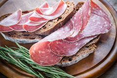 Sandwiches with salami. Sandwiches with dark-rye bread and different kinds of salami Royalty Free Stock Photography