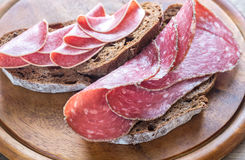 Sandwiches with salami Stock Image