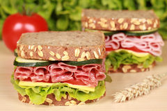Sandwiches with salami and ham. Fresh sandwiches with salami and ham served with cheese and lettuce on a wooden table stock photos