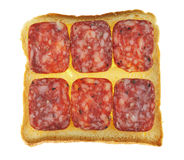 Sandwiches with  salami isolated Royalty Free Stock Photos