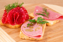 Sandwiches with salami and mortadella Royalty Free Stock Photography