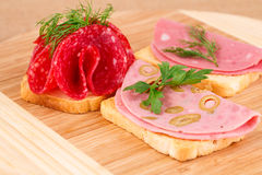 Sandwiches with salami and mortadella Royalty Free Stock Photo