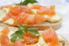 Sandwiches with salmon Royalty Free Stock Photos