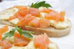 Sandwiches with salmon. Stock Photo