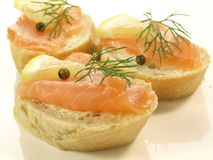 Sandwiches with salmon Royalty Free Stock Images