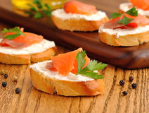 Sandwiches with a salmon Royalty Free Stock Photos