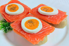 Sandwiches with Salmon, Eggs and Parsley Stock Photography