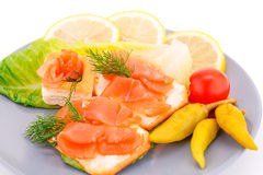Sandwiches with salmon fillet Stock Photo