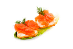 Sandwiches with salmon fillet Royalty Free Stock Images