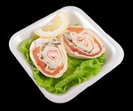 Sandwiches with salmon on a white tray Royalty Free Stock Photo
