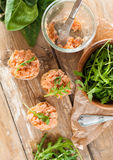 Sandwiches with salmon pate and arugula Royalty Free Stock Photos