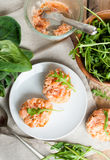 Sandwiches with salmon pate and arugula Stock Photo