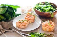 Sandwiches with salmon pate and arugula Stock Image