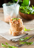 Sandwiches with salmon pate Stock Photos