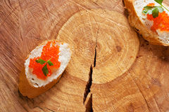Sandwiches with salmon red caviar stock photo