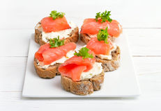 Sandwiches with salmon Royalty Free Stock Image