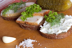 Sandwiches with salted, spiced and spread lard stock photography