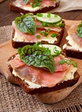 Sandwiches with salty salmon Royalty Free Stock Images