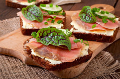 Sandwiches with salty salmon Royalty Free Stock Photography
