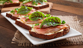 Sandwiches with salty salmon Royalty Free Stock Image