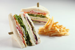 Sandwiches. Sandwich serve with french fries Royalty Free Stock Photo