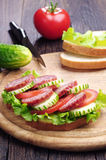 Sandwiches with sausage, lettuce, tomato and cucumber Stock Images
