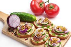 Sandwiches with sausage and onion Royalty Free Stock Image