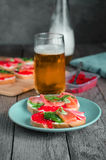 Sandwiches with seafood and beer Stock Photo