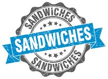 Sandwiches seal. Sandwiches round ribbon seal isolated on white background Stock Image
