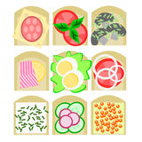 Sandwiches set. Nine kinds of sandwiches for all tastes (meat eaters, vegetarians, vegans stock illustration