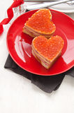 Sandwiches in the shape of heart Stock Photos
