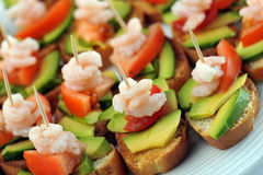 Sandwiches  with shrimps Royalty Free Stock Photography
