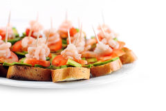 Sandwiches  with shrimps Royalty Free Stock Photo