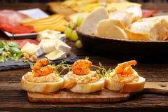 Sandwiches with shrimps and shrimp paste Stock Photo