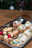 Sandwiches on silver tray Royalty Free Stock Photography